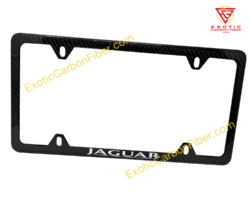 Jaguar White Text Only 4 Hole Carbon Fiber License Plate Frame