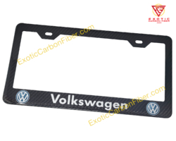 Volkswagen Silver Text and Color Logos Carbon Fiber License Plate Frame