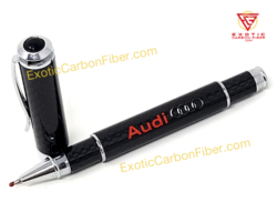 Audi Red Text Silver Logo Carbon Fiber Logo Pen