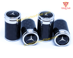 Mercedes Benz Black Carbon Fiber Tire Valve Caps