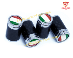 Italy Flag Carbon Fiber Tire Valve Caps